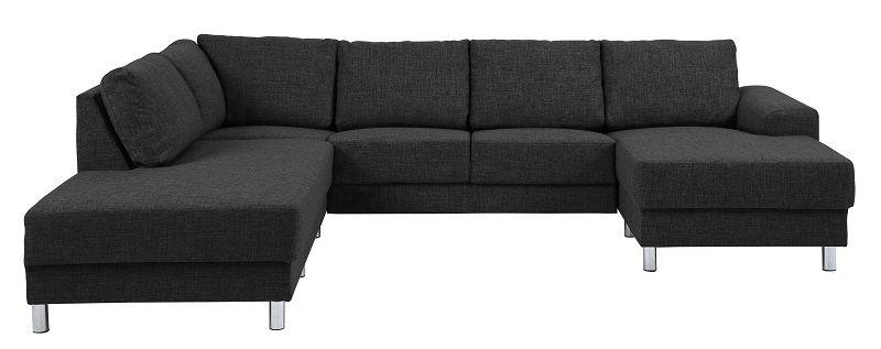 Johnston U-sofa - Antracit stof - Venstre