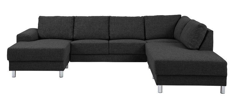 Johnston U-sofa - Antracit stof - Højre