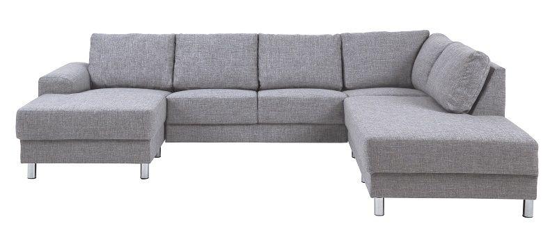 Johnston U-sofa - Grå stof - Højre